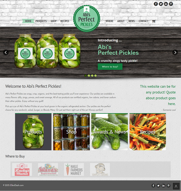 abi's pickles home page snapshot
